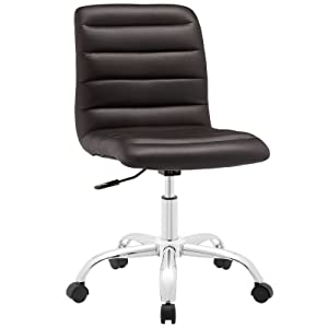 Modway Ripple Ribbed Armless Mid Back Swivel Computer Desk Office Chair In Brown