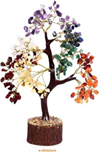 e-clickstore Seven Chakra Natural Healing Gemstone Crystal Bonsai Fortune Money Tree for Good Luck, Wealth & Prosperity-Home Office Decor Spiritual Gift with Golden Wire and 300 Beads