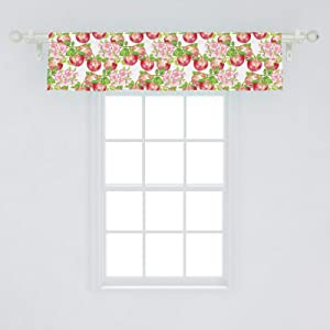 "Ambesonne Victorian Window Valance, Apple Tree in Summer Time with Flowers Nature Scenery Cultural Artwork Print, Curtain Valance for Kitchen Bedroom Decor with Rod Pocket, 54"" X 12"", White Green"