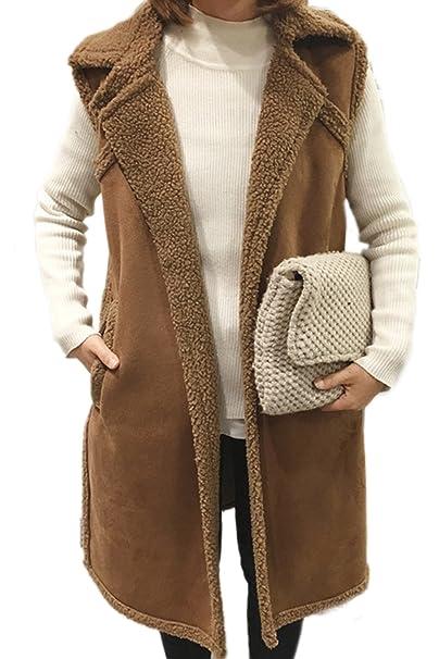 Cordero de invierno de la mujer abrigos y chaquetas de gamuza lana Midi Parka chaleco Camel One Size: Amazon.es: Ropa y accesorios