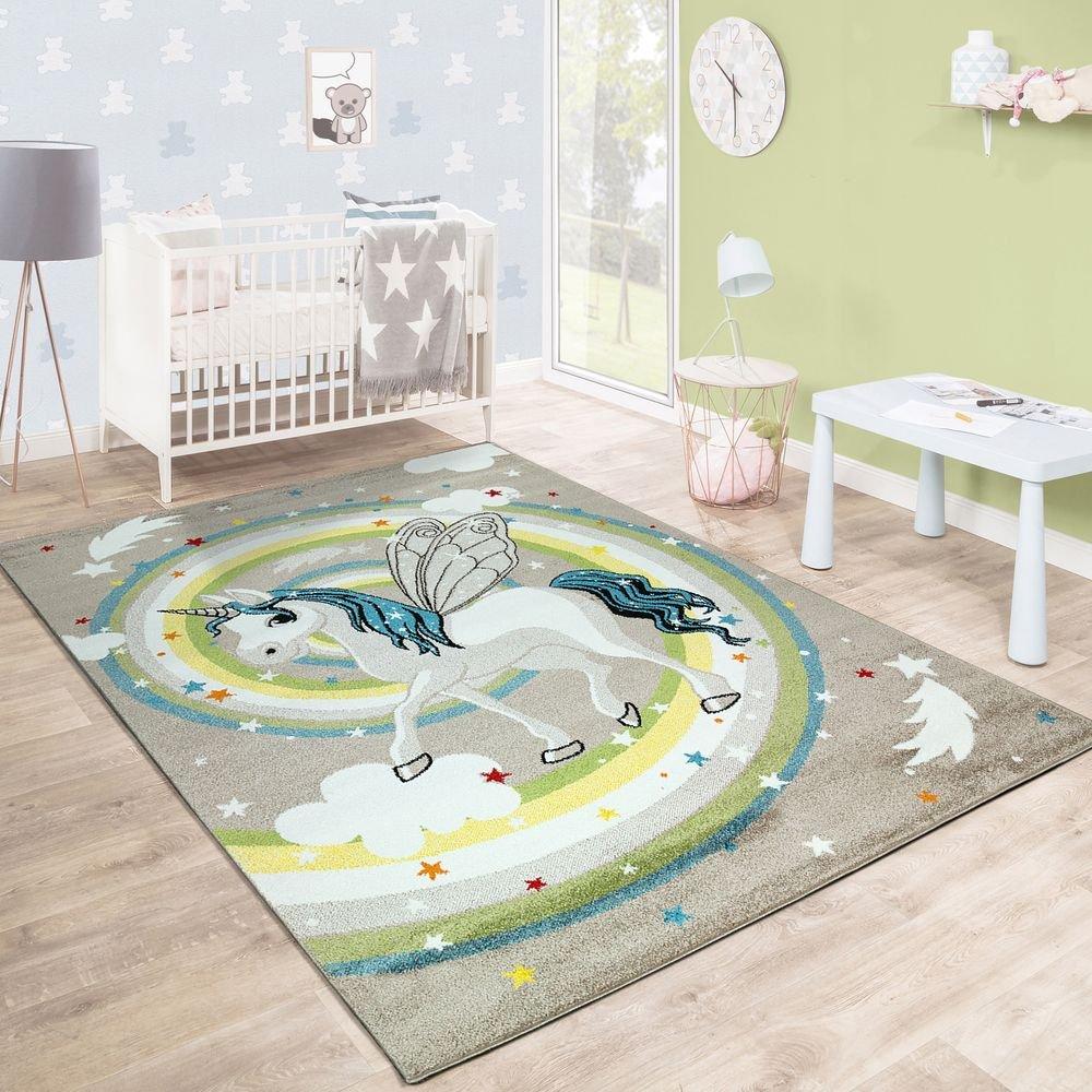 Paco Home Kinderteppich Kinderzimmer Fliegendes Einhorn Regenbogen Sterne Mädchen In Beige, Grösse:200x290 cm