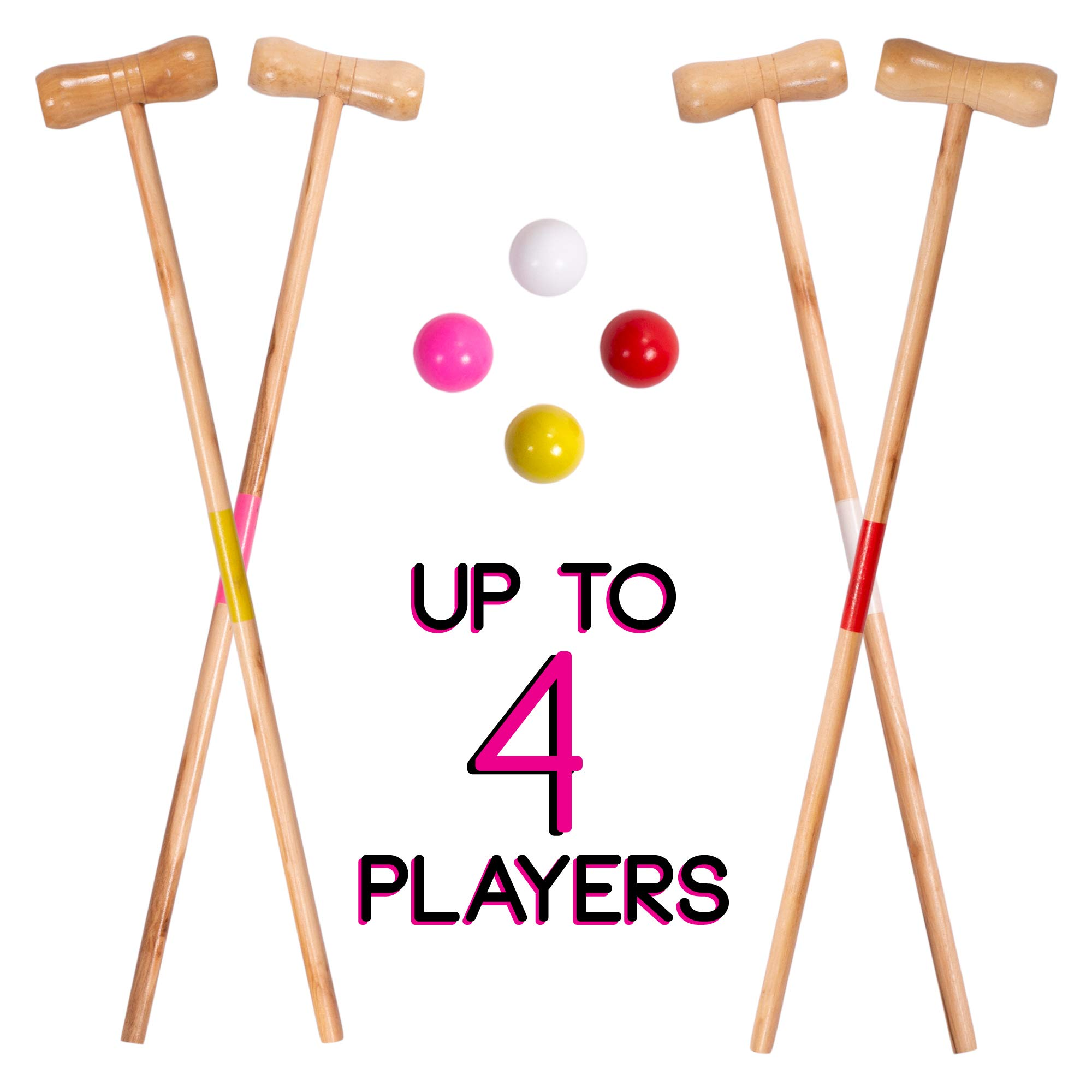 Kids Croquet Set for 4-Players | Classic Outdoor Lawn Game for Children | Great for Birthday Parties, Picnics, BBQs, and More | Comes with Mallets, Balls, Wickets, and a Carrying Bag for Portability by Crown Sporting Goods (Image #4)
