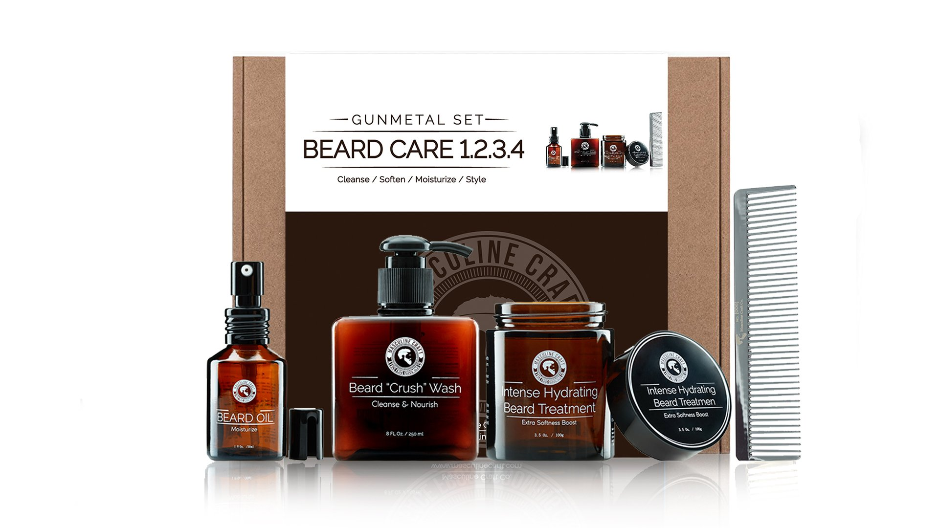 Masculine Craft Men's Beard Grooming Kit | Beard Maintenance Kit | Beard Care Products Includes Beard Care Shampoo + Beard Care Conditioner + Beard Growth Oil + Stainless Steel Metal Beard Comb