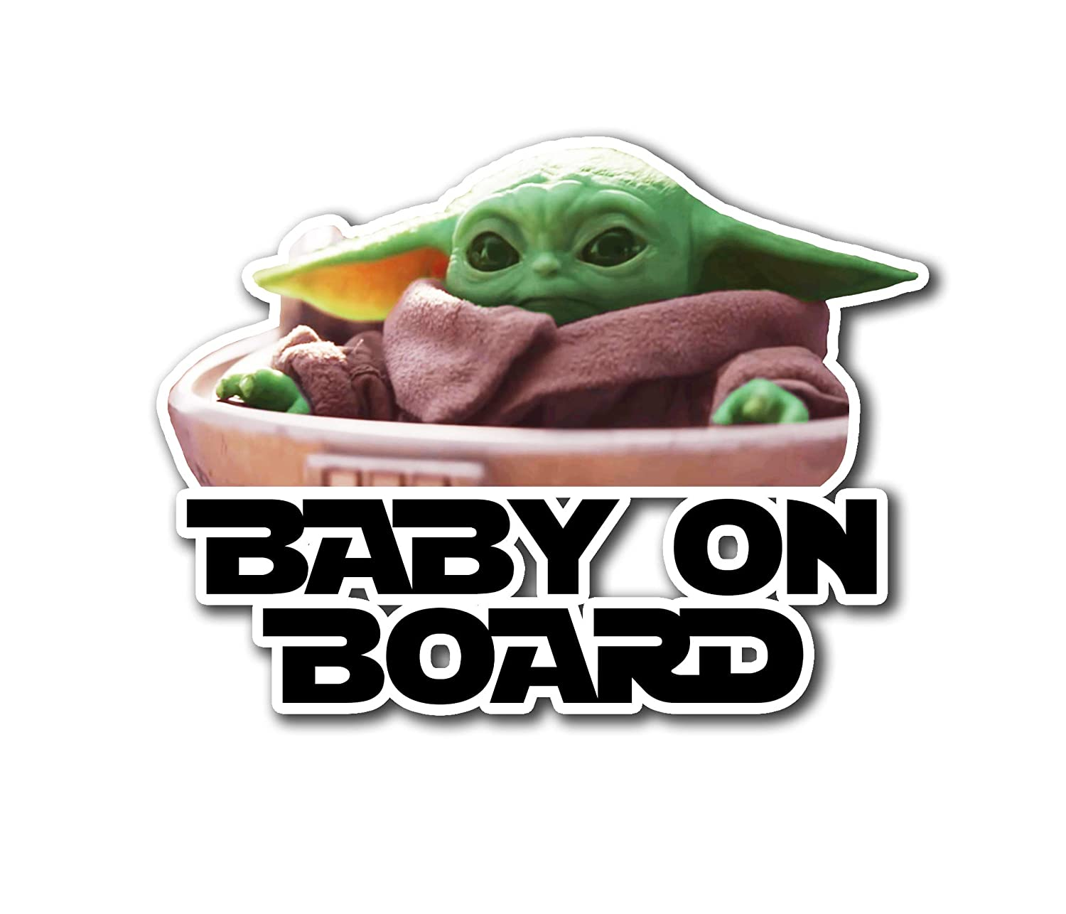 2 Stickers Ichthus Graphics Baby on Board Baby Yoda The Child Mandalorian Jedi Vinyl 1 Pair Decal Gift for Fans to Place on Window Car Truck Vehicle Bumper Laptop MacBook Computer Mug