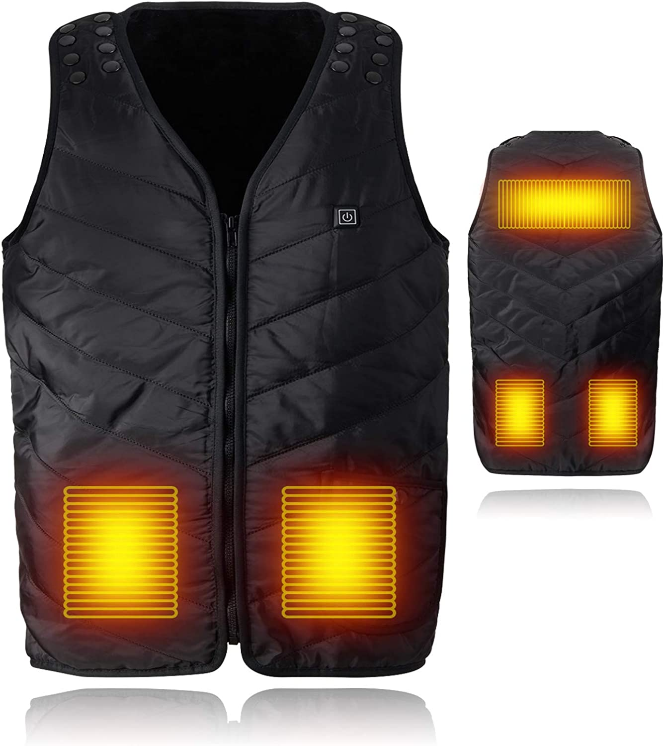 Lightweight Heated Vest with Adjustable Size,Elejolie USB Rechargeable Heated Jacket,Washable Electric Vest for Men Women