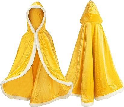 Oferta amazon: Proumhang Disfraz de Princesa Capa de Princesa para Niñas Disfraces para Halloween Trajes de Navidad Dorado 150 para 7-8 años