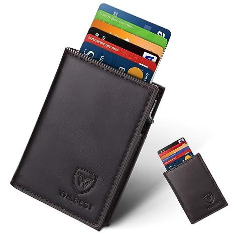 fc0af44ca8 Portafoglio Uomo Vera Pelle Porta carte di credito minimalista con  protezione RFID, Slim Automatico Pop