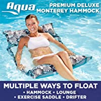 Aqua Leisure 4-in-1 Multi-Purpose Deluxe Monterey Hammock (Saddle, Lounge Chair, Hammock, and Drifter), Supportive Mesh Lining, Easy Fold, DuoLock System for Easy Inflation/Deflation, One Size, Blue
