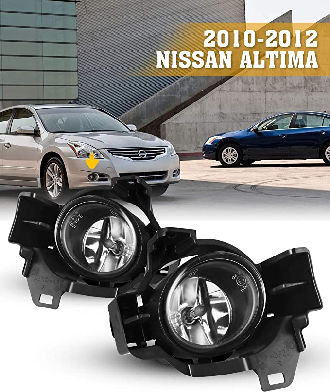 Front Bumper Fog Lights Clear Includes H11 Bulbs Wiring Harness and Switch Fit 2008-2012 Nissan Altima 2 Door Coupe Model Only