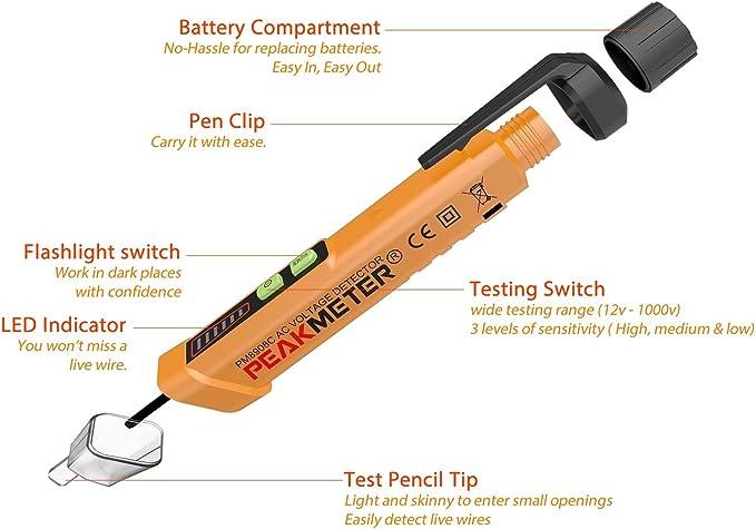 Non Contact Voltage Detector 12v-1000V AC Voltage Tester Pen /& LED Flashlight by PriceBustr PriceBustr