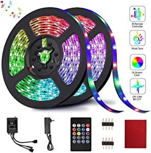LED Strip Lights, HeySuun RGB Light Strips 32.8FT/10M 20Key, Music Sync Color Changing, Rope Light 600 SMD 3528 LED, IR Remote Controller Flexible Strip for Home Party Bedroom DIY Party Indoor Outdoor