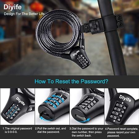 Diyife Bike Cable Lock, Reinforce Version Heavy Duty Bicycle lock, Bike Lock