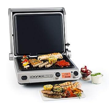 Klarstein Grand Gourmet Plancha 3 en 1 • Parrilla • Asador • Plancha de paninis • 2000 W • 160-230 °C • 28 x 23 cm de superficie de asado en aluminio ...