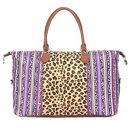5341c22d8b1b Amazon.com | Leopard Weekender Bags Overnight Bag Weekend Bag Leopard And  Serape Large Capacity Duffle Handbag Weekend Tote Bag | Travel Duffels