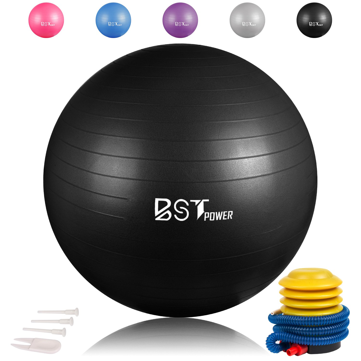Exercise Ball,Anti-Burst Slip-Resistant Extra Thick Balance Stability Yoga Ball 65-85cm ,Supports 2000lbs with Quick Foot Pump,Perfect for Home Gym Core Strength Yoga Fitness