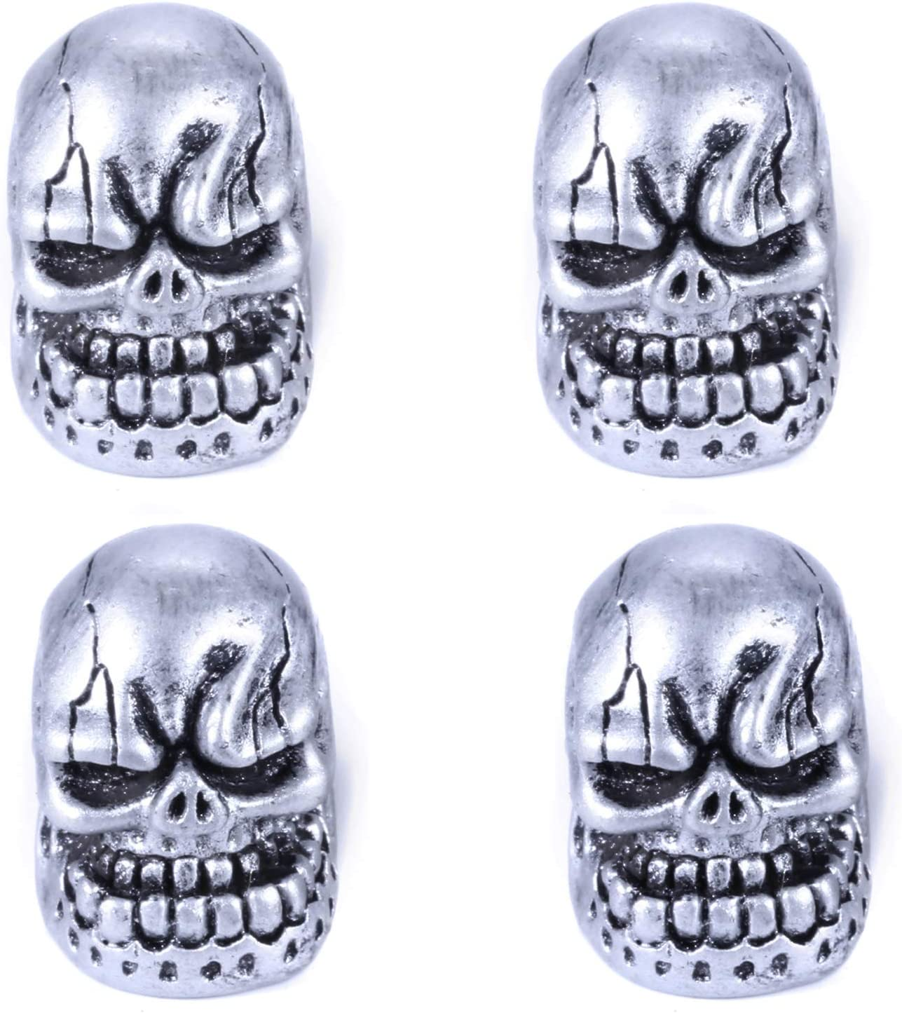 Abfer Air Tire Vale Cap Skull Shape Car Valve Stem Caps Replacement Covers with Big Tooth Fit Most Vehicle Truck Motorcycles Bikes Silver