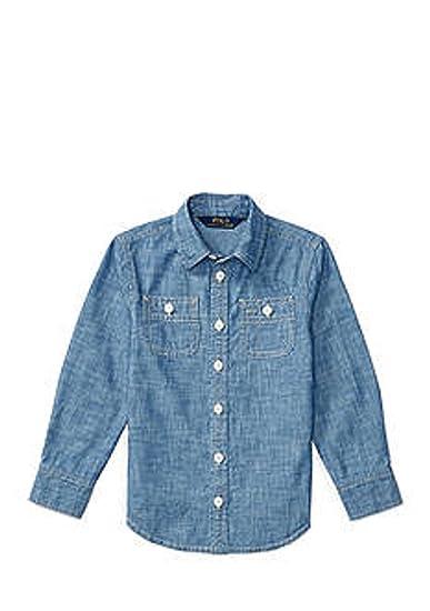 5c8bd7b5acb Amazon.com  Ralph Lauren Girls Long Sleeves Chambray Shirt (8 Big ...