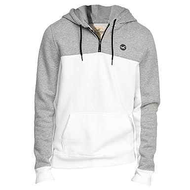 11dac7b40 Hollister Men's Half-Zip Icon Hoodie Fleece Sweatshirt Hoody, Size XL, White  (