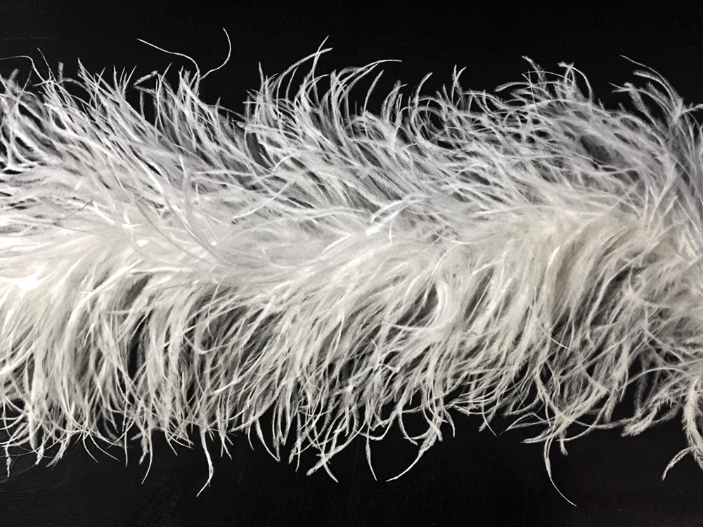 Moonlight Feather | 72 Inches / 2 Yards - White 5 Ply Ostrich Feather Fluffy Boa Wedding Dress, Costume, Cosplay Fashion Boa by Moonlight Feather | USA SELLER