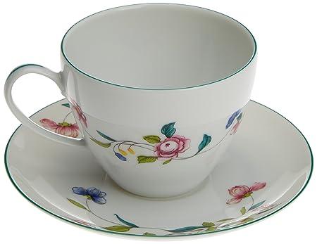 Porcel Florence Taza té con Plato, Porcelana, Decorado y Blanco ...