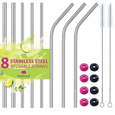 Amazon.com: Pajitas de acero inoxidable reutilizables ...
