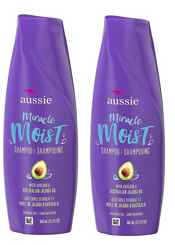 Aussie Miracle Moist Shampoo 12.1 Ounce With Avocado & Jojoba Oil (360ml) (2 Pack)
