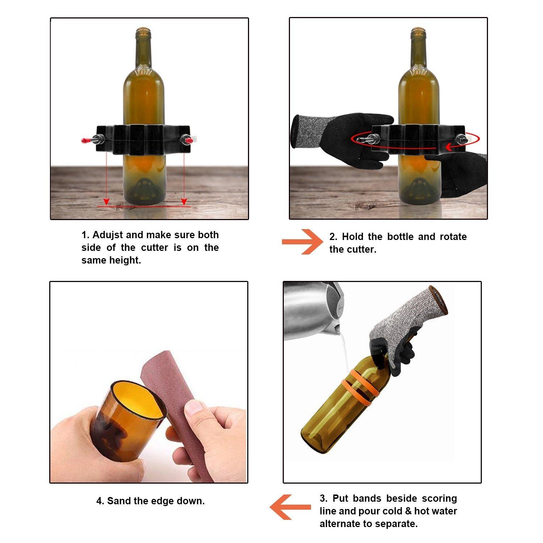 Cortador de Botellas, Genround Glass Bottle Cutter cortador de Botellas de Vidrio de vino Cortadora Botellas, Kit de Máquina Cortadora de Vidrio para ...