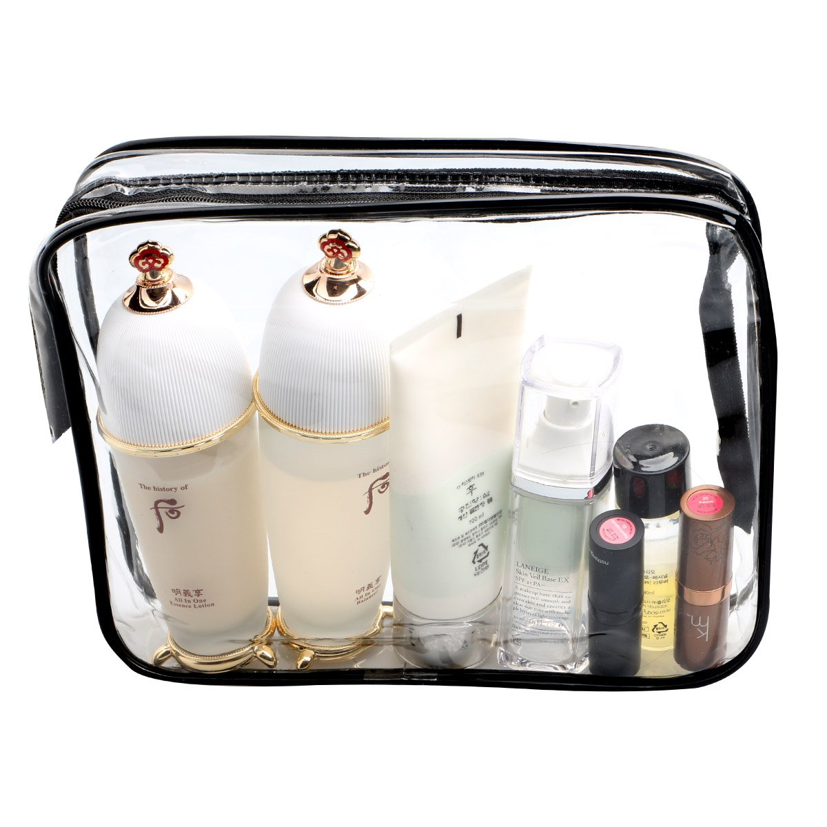 ESHOW 3 Set Clear Packing Cubes, PVC Waterproof Multi-function Hand Pouch Tote Bag Makeup Bag with Zipper and Travel to Buggy Bag for Toiletries Cosmetic and Bathroom Accessories (black) by WIFUME (Image #6)