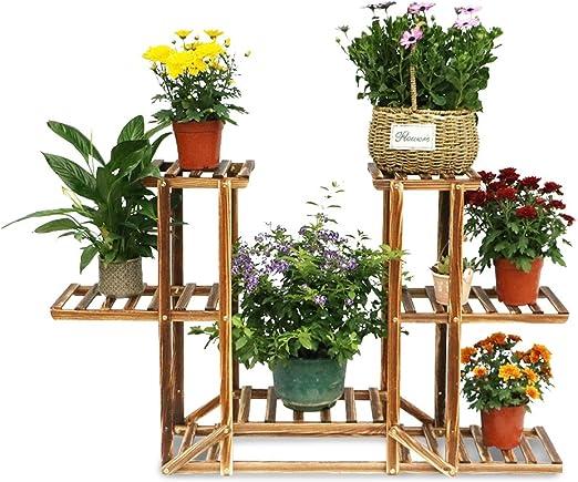 Soporte de Madera para Plantas Macetas Racks de Flores con 6 estantes para Interiores Exteriores Jardín Estantería de exhibición de Flores 75.5×71.5×25: Amazon.es: Jardín