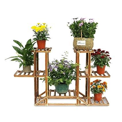 Soporte de Madera para Plantas Macetas Racks de flores con 6