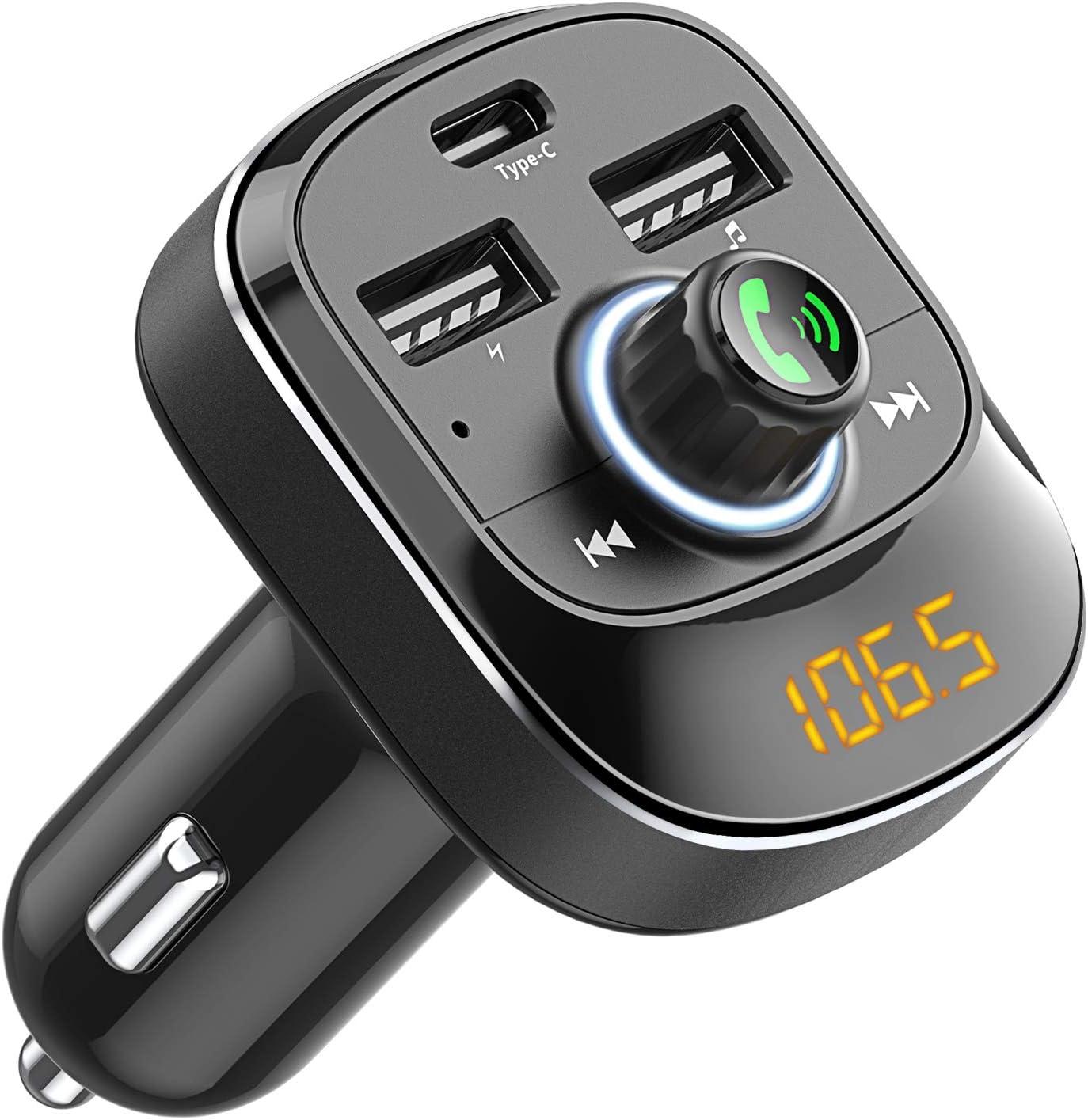 Cocoda Transmisor FM Bluetooth Coche Manos Libres, Inalámbrico Reproductor MP3 Mechero Coche con Dual USB & Tipo C Puerto Carga, Adaptador Receptor Cargador Coche Acepta Memoria USB & Tarjetas