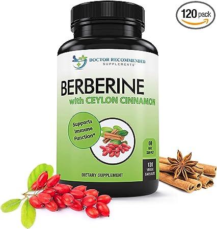 Berberine with Ceylon Cinnamon - 1200mg Berberine & 100mg Organic Ceylon Cinnamon - 120 Veggie Capsules, Blood Sugar Support, Healthy Immune System Cardiovascular Heart & Gastrointestinal Wellness