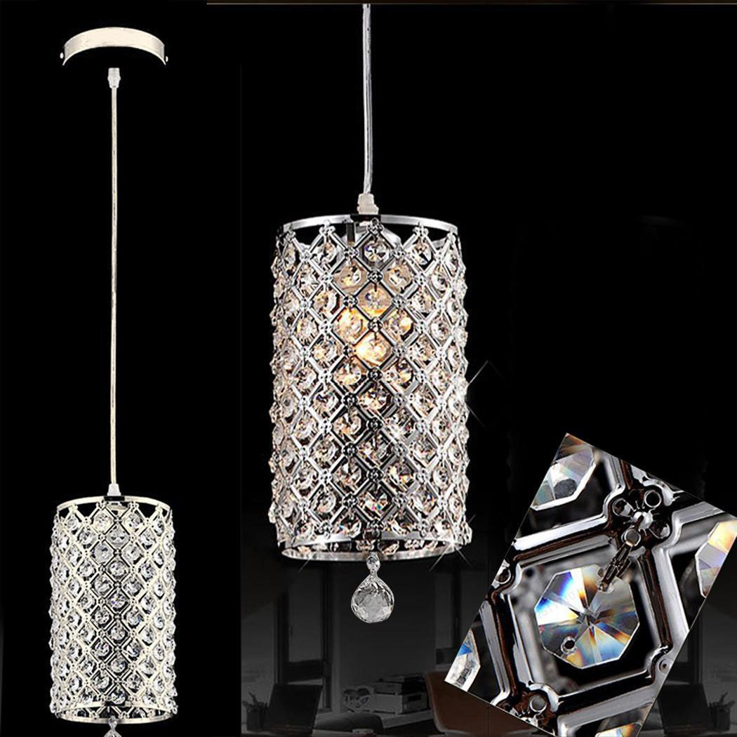Mini Modern Crystal Ceiling chandelier lighting Light, 1-Light Cylindrical Plug-In Pendant, Electroplated Finish, Caged Crystal Shade,For Living Room, Bedroom, Dining Room