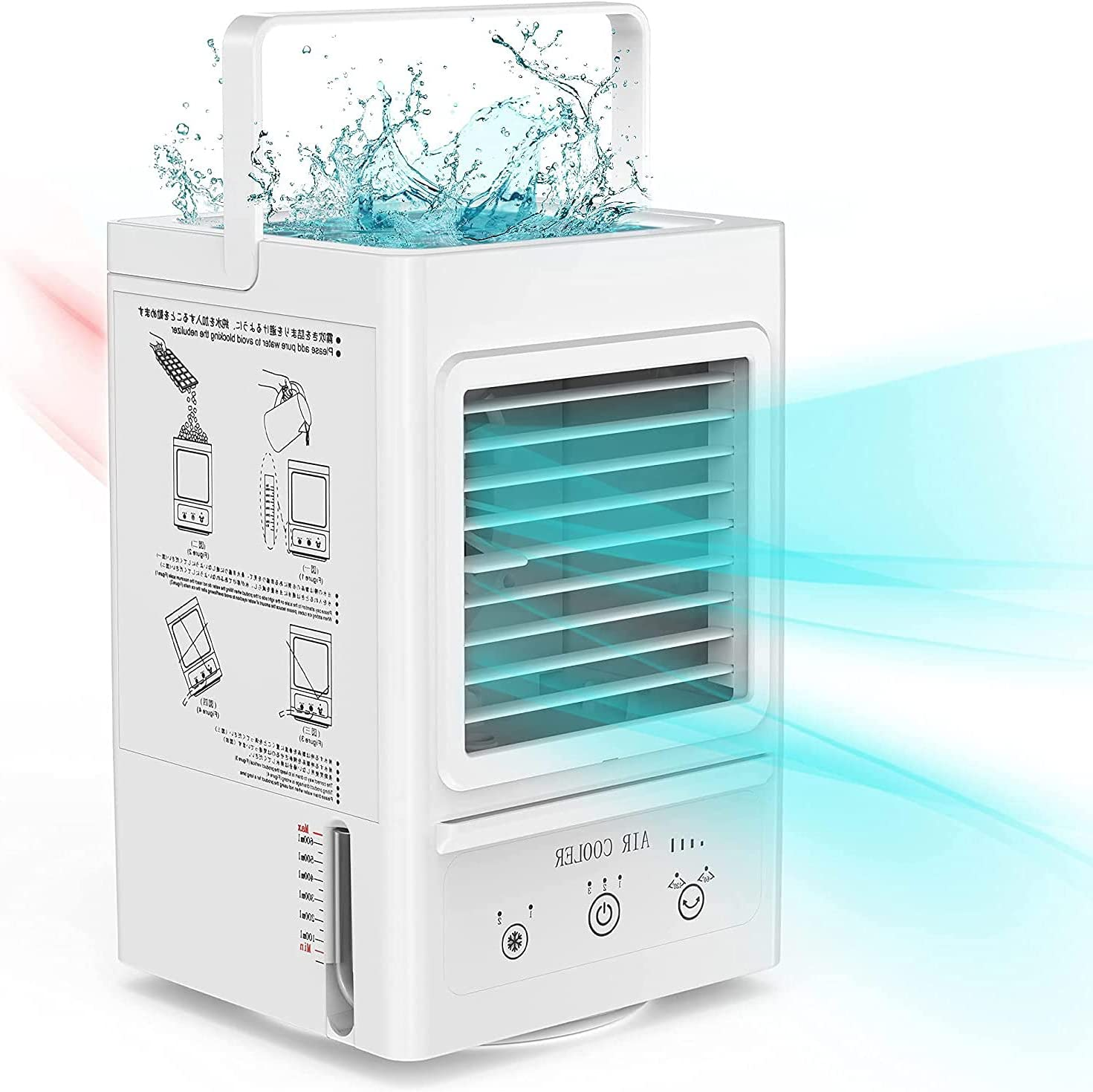 Portable Air Conditioner, Rechargeable Battery Operated Evaporative Air Cooler, Auto Oscillation 700ml Water Tank, Perfect for Home Bedroom Office Outdoor