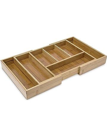 Relaxdays - Bandeja cubiertos, cubertero, bambú, 5- 7, 37.2 x 28