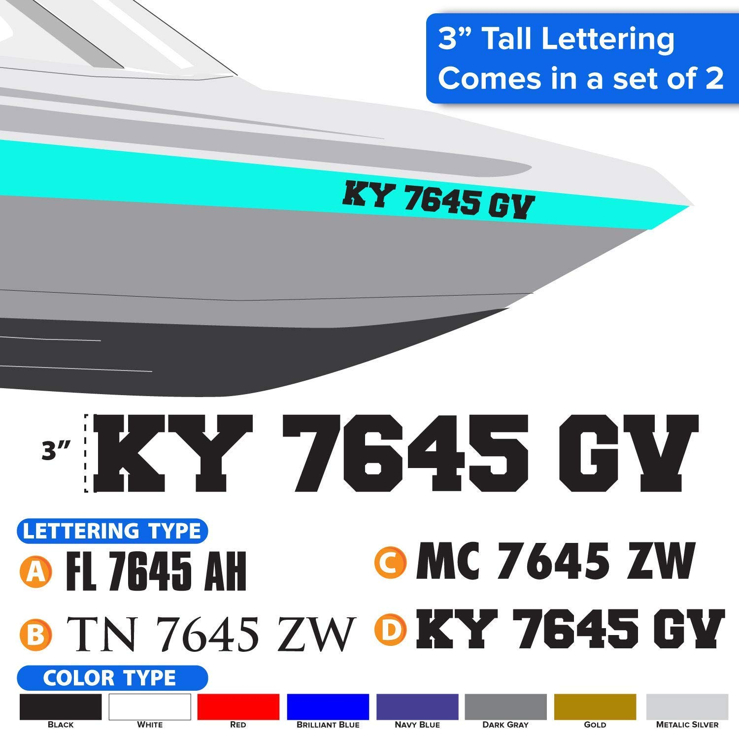 Amazon com boat registration numbers set of 2 decals sticker handmade