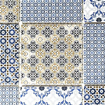 Retro Vintage Mosaik Fliese Keramik weiß blau orange grau ...