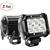 "Nilight 60001F-B Bar 2PCS 18w 4"" Flood Fog Road Boat Driving Led Work Light SUV Jeep Lamp,2 Years Warranty"