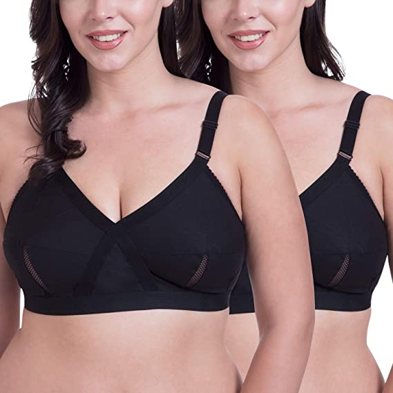 41717b7fccd Rajnie Cross Fit Plus Size Non Padded Black Cotton Bra - (Pack of 2)  Amazon .in  Clothing   Accessories