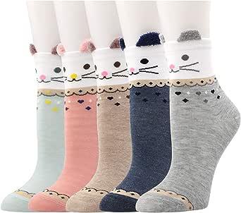 Yuccer Calcetines de Animales, 5 Pares Divertidos Calcetines de Algodón Linda Piso Calcetines de dibujos Crew Socks para Bebé Niñas Adulto