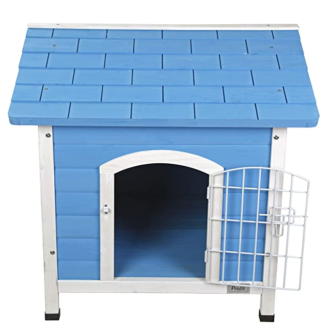 Petsfit casa de perro de interior con puerta de hierro, refugio de madera para perros, color azul, 74 cm x 70 cm x 76 cm: Amazon.es: Productos para mascotas
