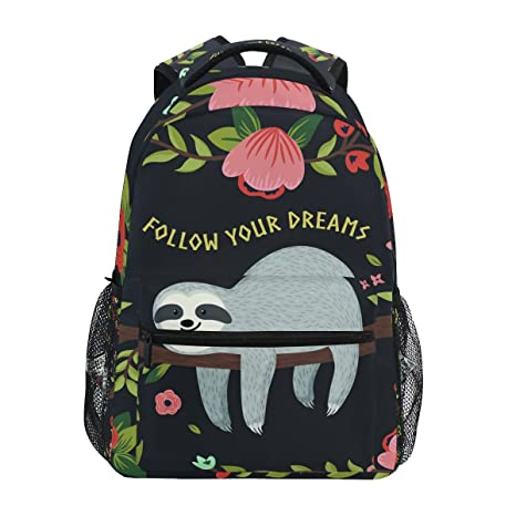 0d8612e4e54 Image Unavailable. Image not available for. Color  ZZKKO Funny Sloth on  Tree Branches Follow Your Dreams Backpacks College ...