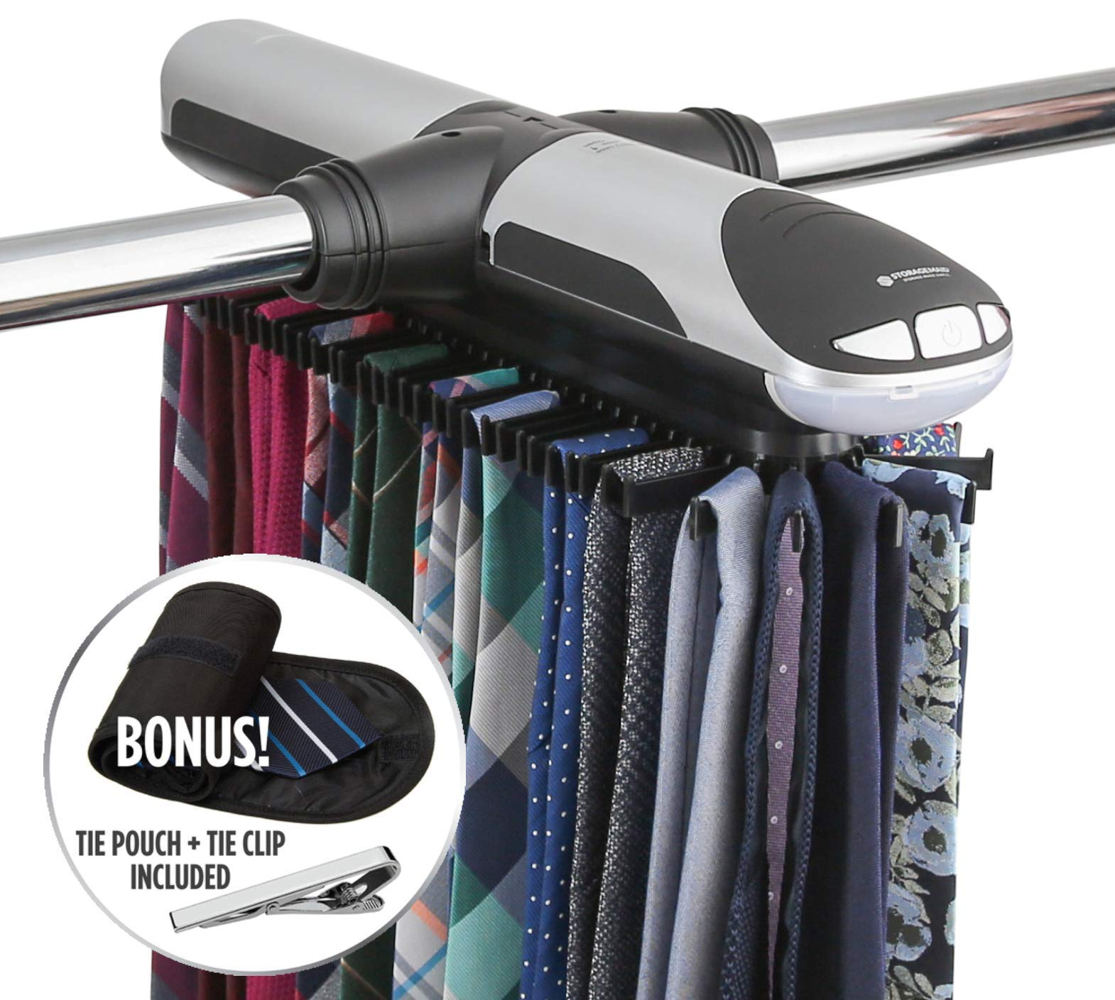 StorageMaid Motorized Tie Rack Organizer for Closet with LED Lights - Battery Operated - Holds 72 Ties and 8 Belts - Includes J Hooks for Wire Shelving - Bonus Tie Travel Pouch & Tie Clip by StorageMaid