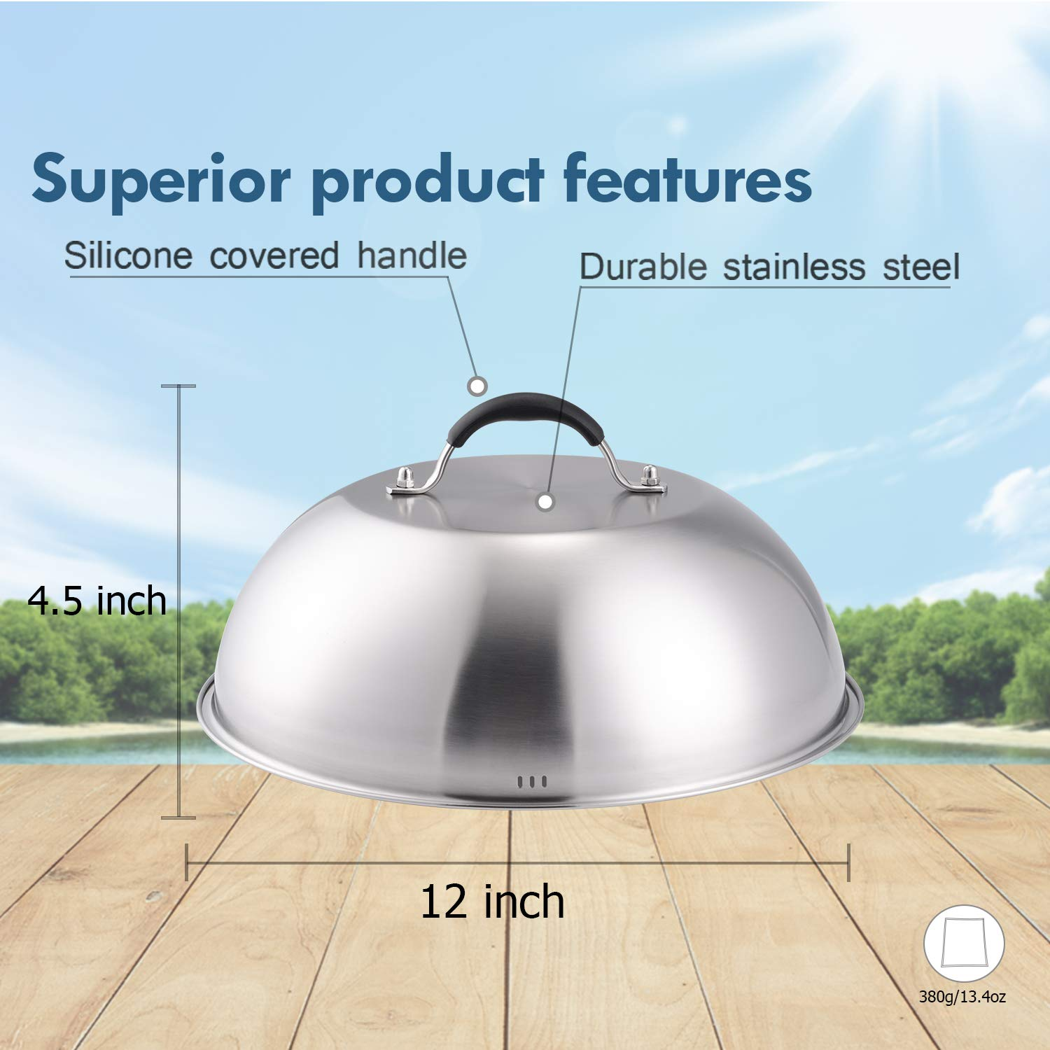 12 Inch Heavy-duty Cheese Melting Dome - 18/8 Stainless Steel Griddle Grill Accessories - Durable Round Basting, Steaming Cover - Heat Resistant Handle for Flat Top Griddle Grill Indoor/Outdoor by HOUSE AGAIN (Image #2)