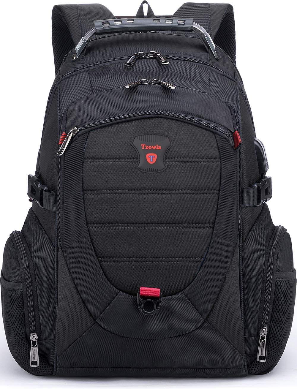 Tzowla Travel Laptop Backpack,Anti-Theft Water Resistant Business Luggage with TSA Lock USB Charging Port Friendly Computer Cooler Daypack for Men Women College School Bag Fit 16 17 inch Laptop Black