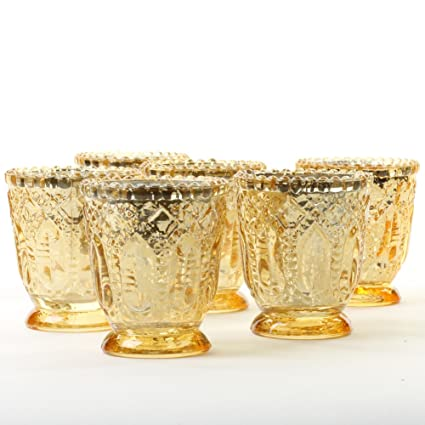 16c774f610 Amazon.com: Koyal Wholesale Vintage Glass Candle Holder (Pack of 6), 3 x  2.75 (Antique Gold): Home & Kitchen