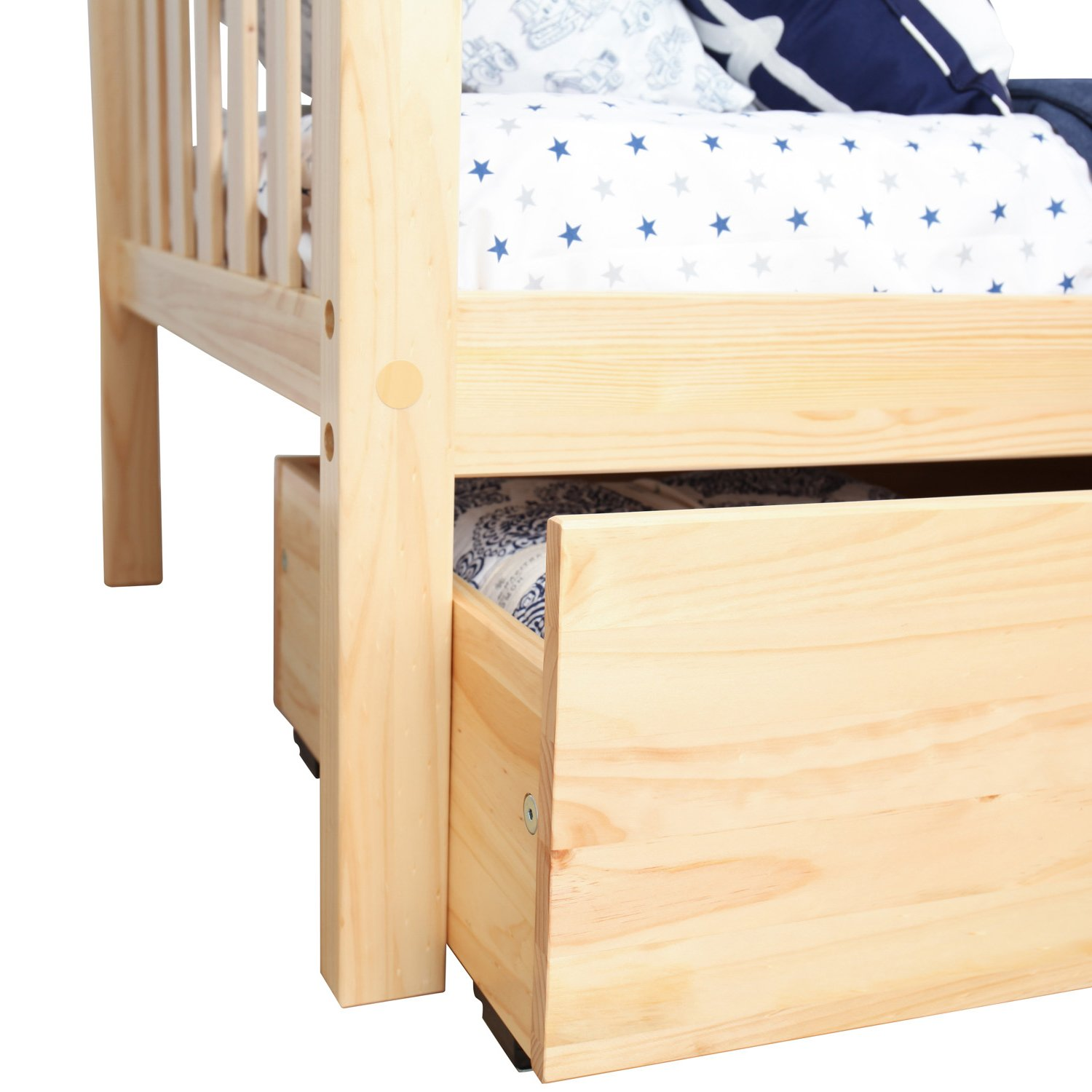 Max & Lily Solid Wood Twin-Size Bed with Under Bed Storage Drawers, Natural by Max & Lily (Image #8)