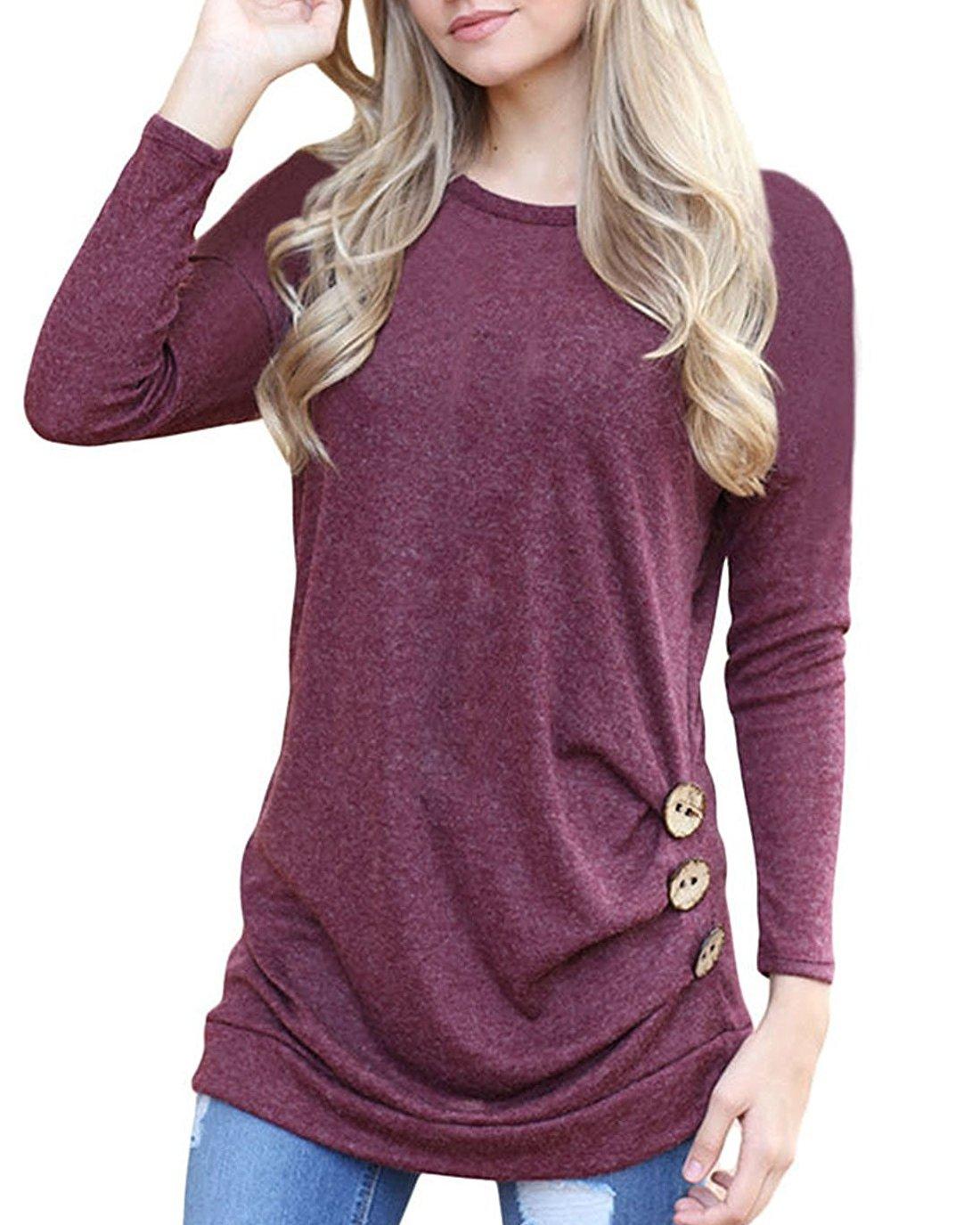 Women's Casual Tunic Top Sweatshirt Long Sleeve Blouse T-Shirt Button Decor Wine Red M