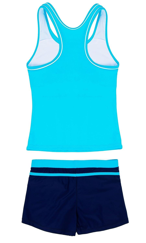 Wocau Little Girls Two Pieces Swimsuit Boyshort Fashion Tankini Set