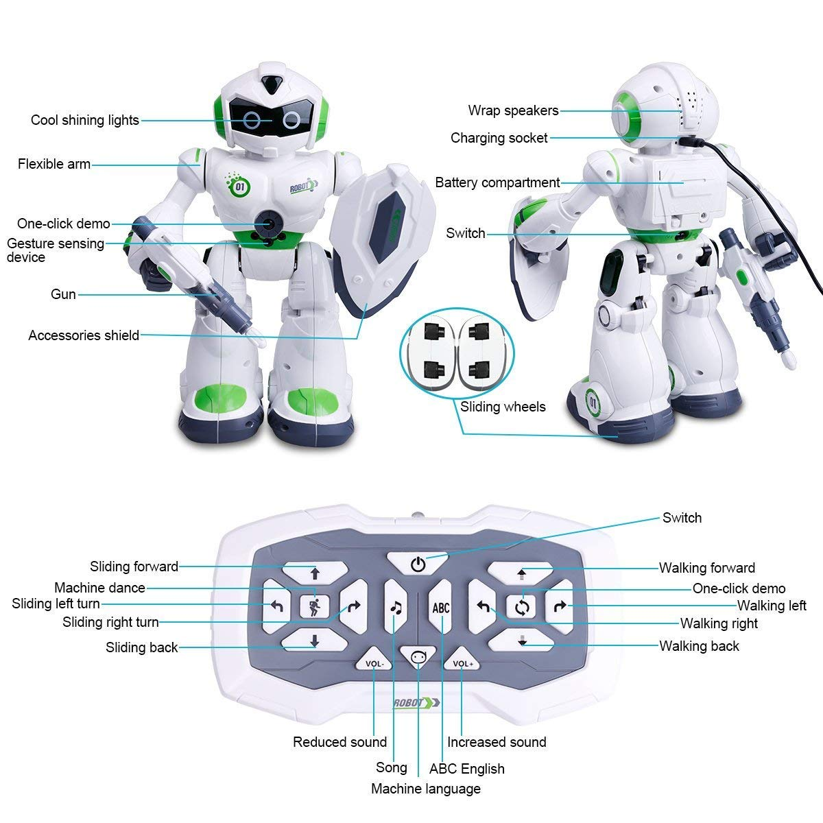 Remote Control Robot,Robot Toys,Smart Robotics for Kids with Gesture Sense, Interactive Walking Singing Dancing Speaking,with LED Light, Shoots Missiles, Talking, Walking, Singing, Educational Toys by Locke Teddy (Image #8)